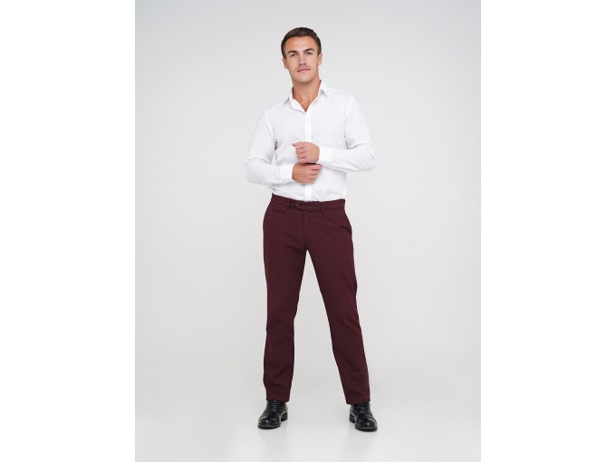 Бордові чоловічі брюки Elvis прямого силуету на сезон осінь-зима